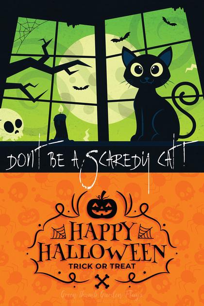 Happy Halloween (Scaredy cat) Garden Flag