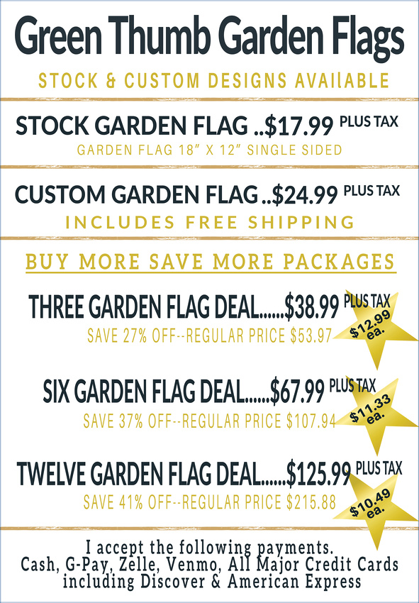 Web Page -Green thumb garden flags -Single Side Prices copy