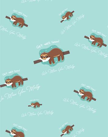 Get well Soon (Sloths) Print pattern copy