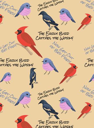 Early Bird Gets the worm (bird) Print pattern copy
