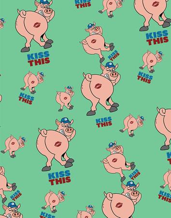 Kiss This (Pig Ass) Print pattern copy