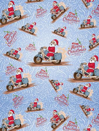 Merry Christmas (motorcycle santa) Print pattern copy